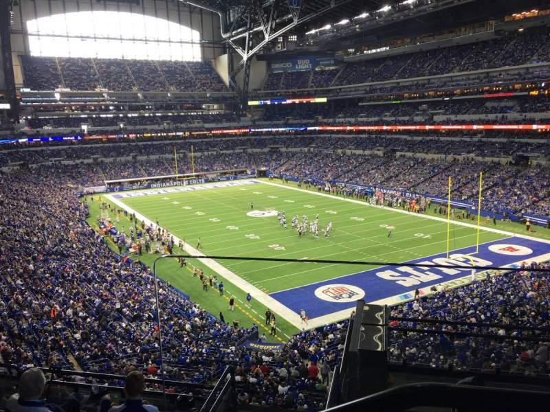 Vista sentada para Lucas Oil Stadium Secção 404 Fila 2 Lugar 1