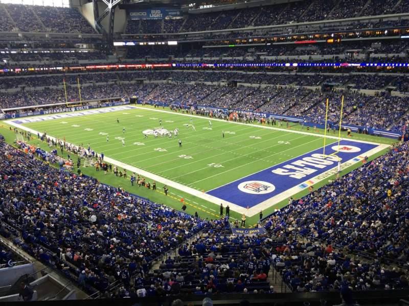 Vista sentada para Lucas Oil Stadium Secção 406 Fila 1 Lugar 1