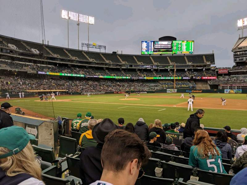 Vista sentada para Oakland Coliseum Secção 111 Fila 8 Lugar 8