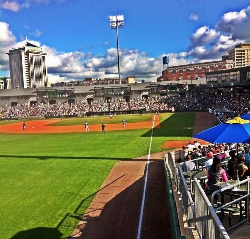 Vista sentada para Montgomery Riverwalk Stadium Secção Left Field Standing Rail