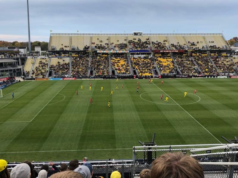 Vista sentada para Mapfre Stadium Secção 208 Fila 9 Lugar 2
