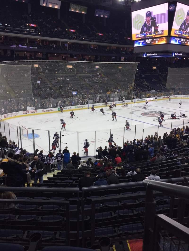 Vista sentada para Nationwide Arena Secção 117 Fila CC Lugar 1