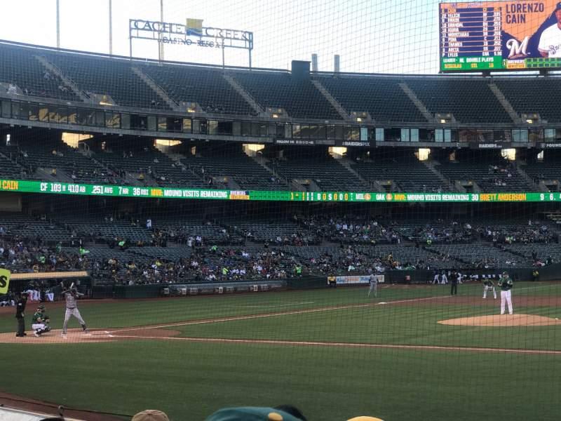 Vista sentada para Oakland Coliseum Secção 112 Fila 6 Lugar 7