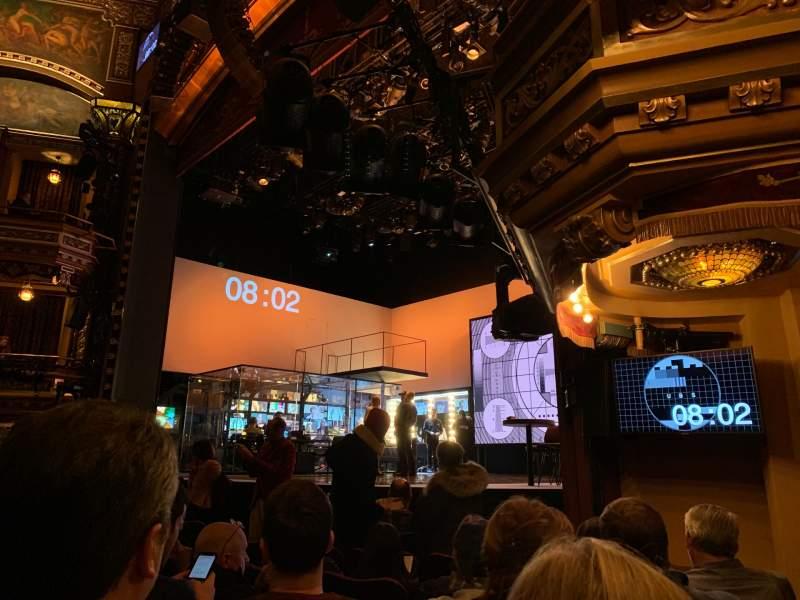 Vista sentada para Belasco Theatre Secção Orchestra R Fila G Lugar 18