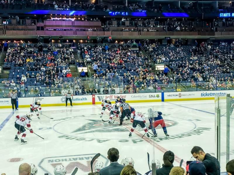 Vista sentada para Nationwide Arena Secção 104 Fila H Lugar 10