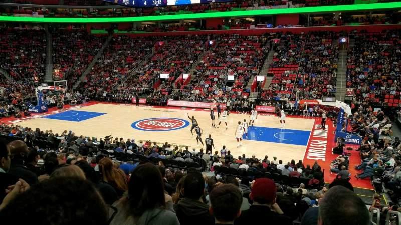 Vista sentada para Little Caesars Arena Secção 107 Fila 17 Lugar 1