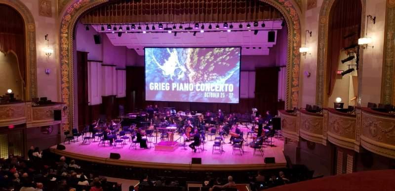 Vista sentada para Orchestra Hall Secção Box Center Fila J Lugar 7