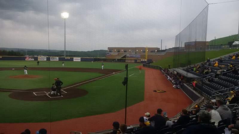 Vista sentada para Monongalia County Ballpark Secção 104 Fila J Lugar 17