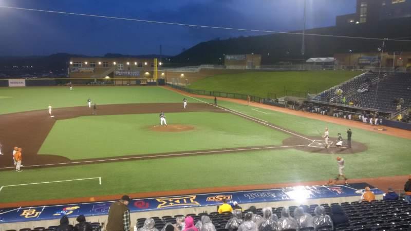 Vista sentada para Monongalia County Ballpark Secção 102 Fila 2 Lugar 1