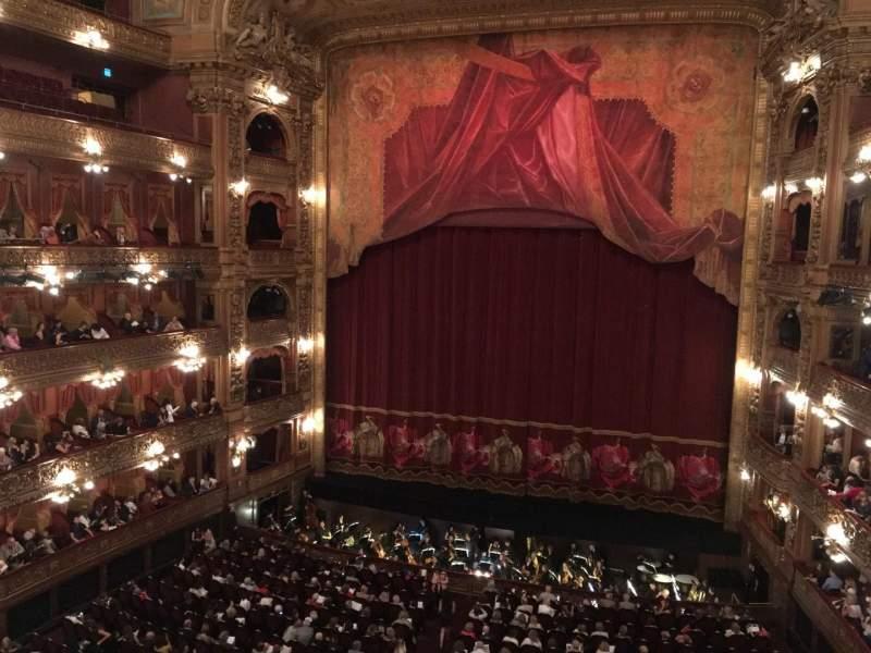 Vista sentada para Teatro Colón Secção Cazuela Centro Fila 1 Lugar 64