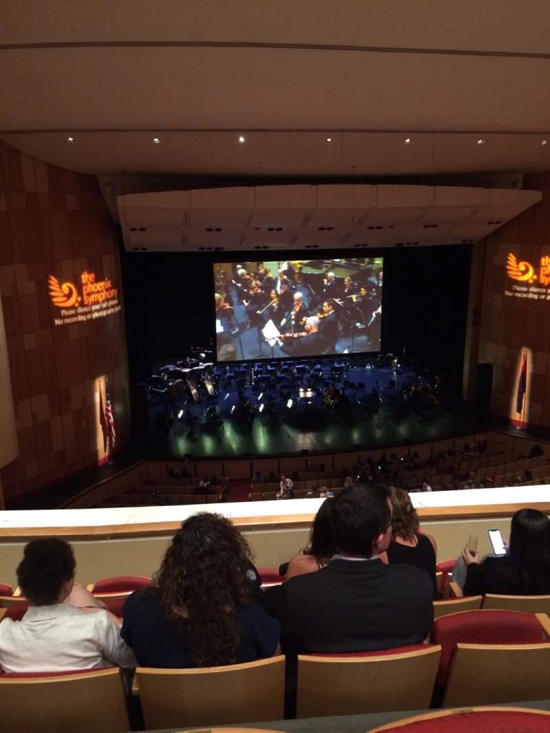 Vista sentada para Phoenix Symphony Hall Secção 10 Fila 5 Lugar 49