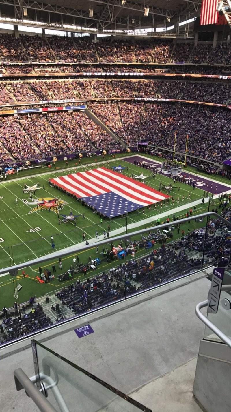 Vista sentada para U.S. Bank Stadium Secção 343 Fila 3 Lugar 1