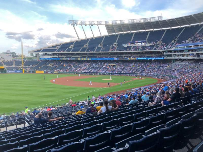Vista sentada para Kauffman Stadium Secção 211 Fila LL Lugar 1