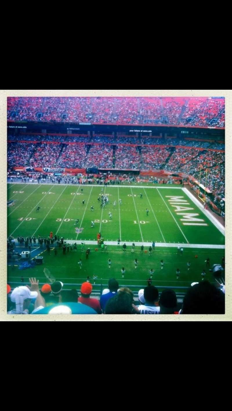 Vista sentada para Hard Rock Stadium Secção Old 4102 Fila 8 Lugar 3