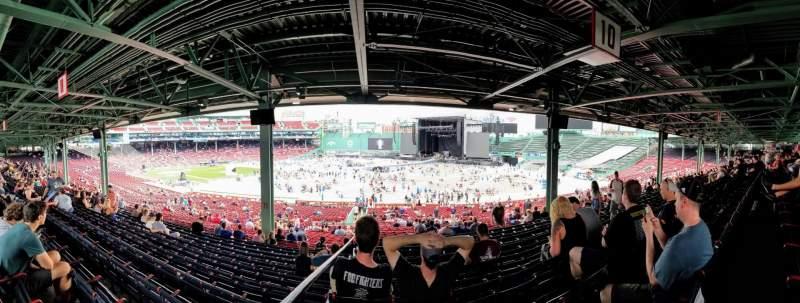 Vista sentada para Fenway Park Secção Grandstand 10 Fila 12 Lugar 12