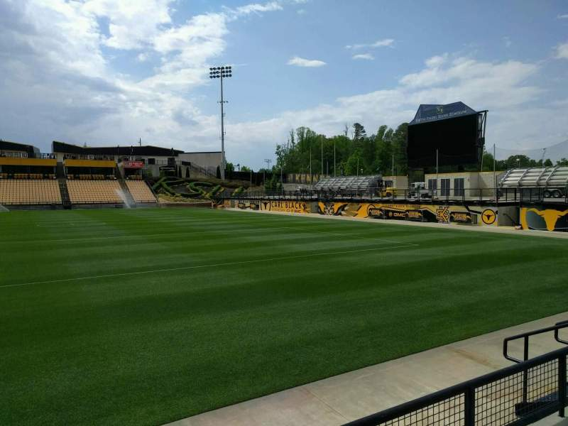 Vista sentada para Fifth Third Bank Stadium Secção 129 Fila c Lugar 7