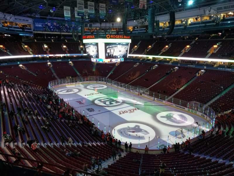 Vista sentada para Rogers Arena Secção 318 Fila 7 Lugar 106