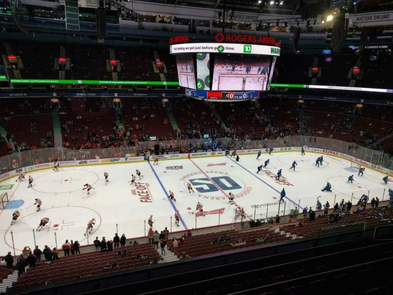Vista sentada para Rogers Arena Secção 309 Fila 6 Lugar 107