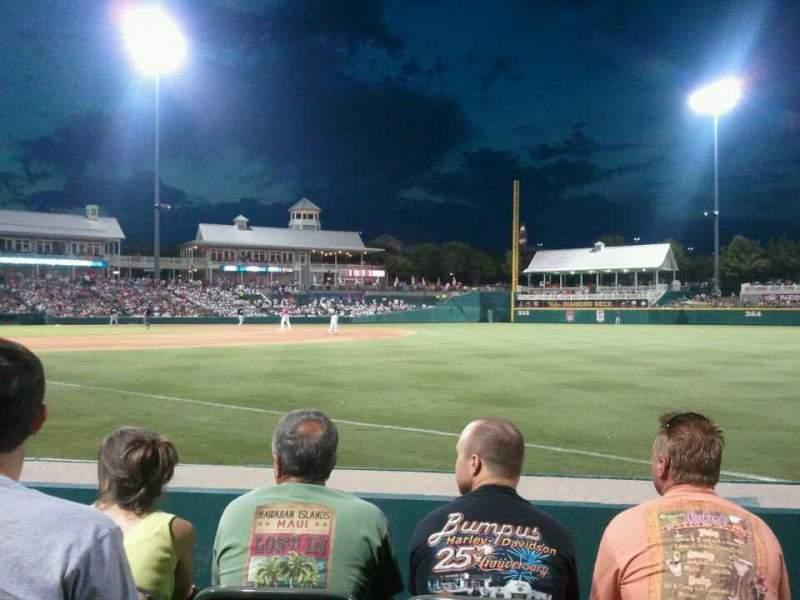 Vista sentada para Dr Pepper Ballpark Secção 124 Fila 4 Lugar 3