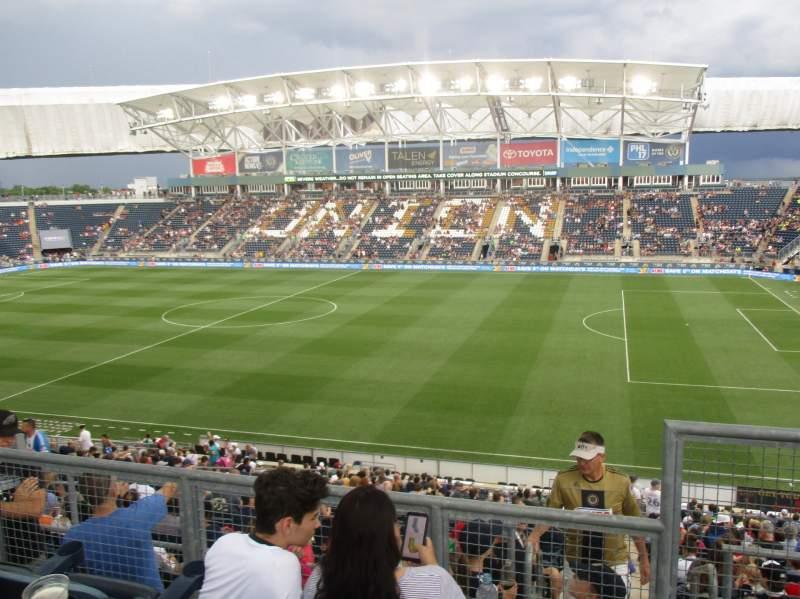 Vista sentada para talen energy stadium Secção 304 Fila 2 Lugar 1