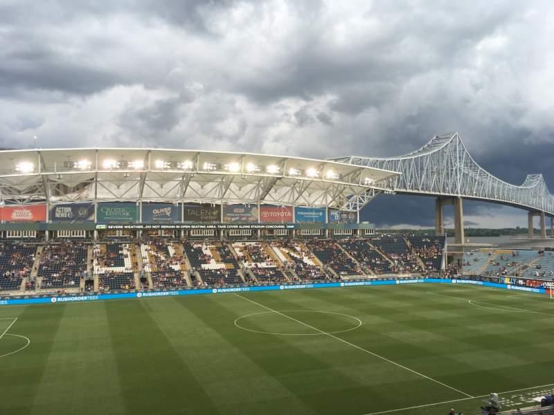 Vista sentada para talen energy stadium Secção 310 Fila 2 Lugar 1