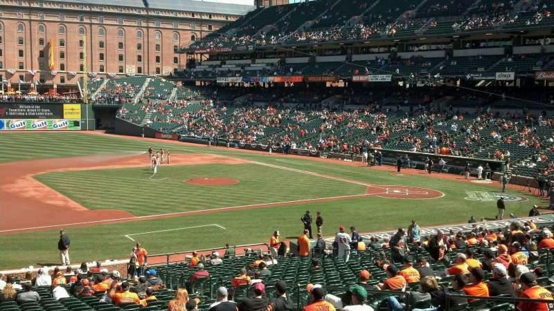 Vista sentada para Oriole Park at Camden Yards Secção 55 Fila 2 Lugar 7
