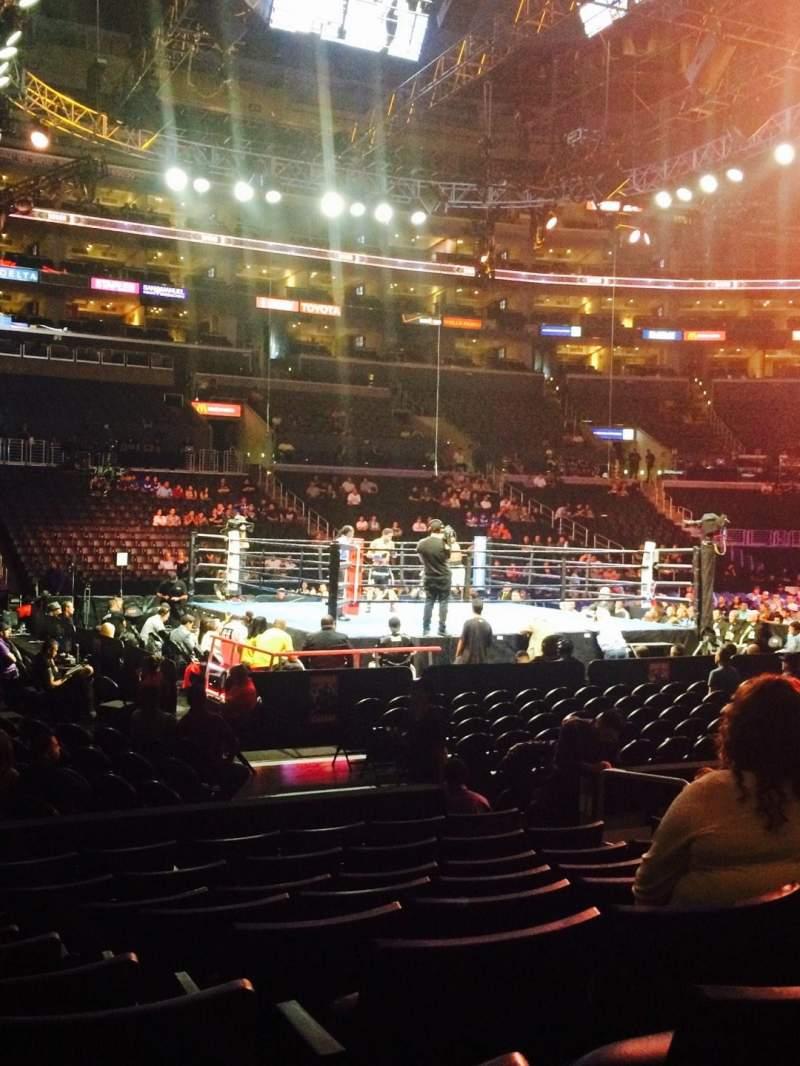 Vista sentada para Staples Center Secção 102 Fila 9 Lugar 8
