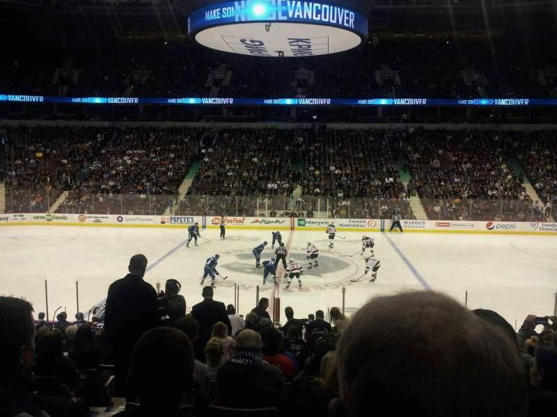 Vista sentada para Rogers Arena Secção 117 Fila 19 Lugar 3