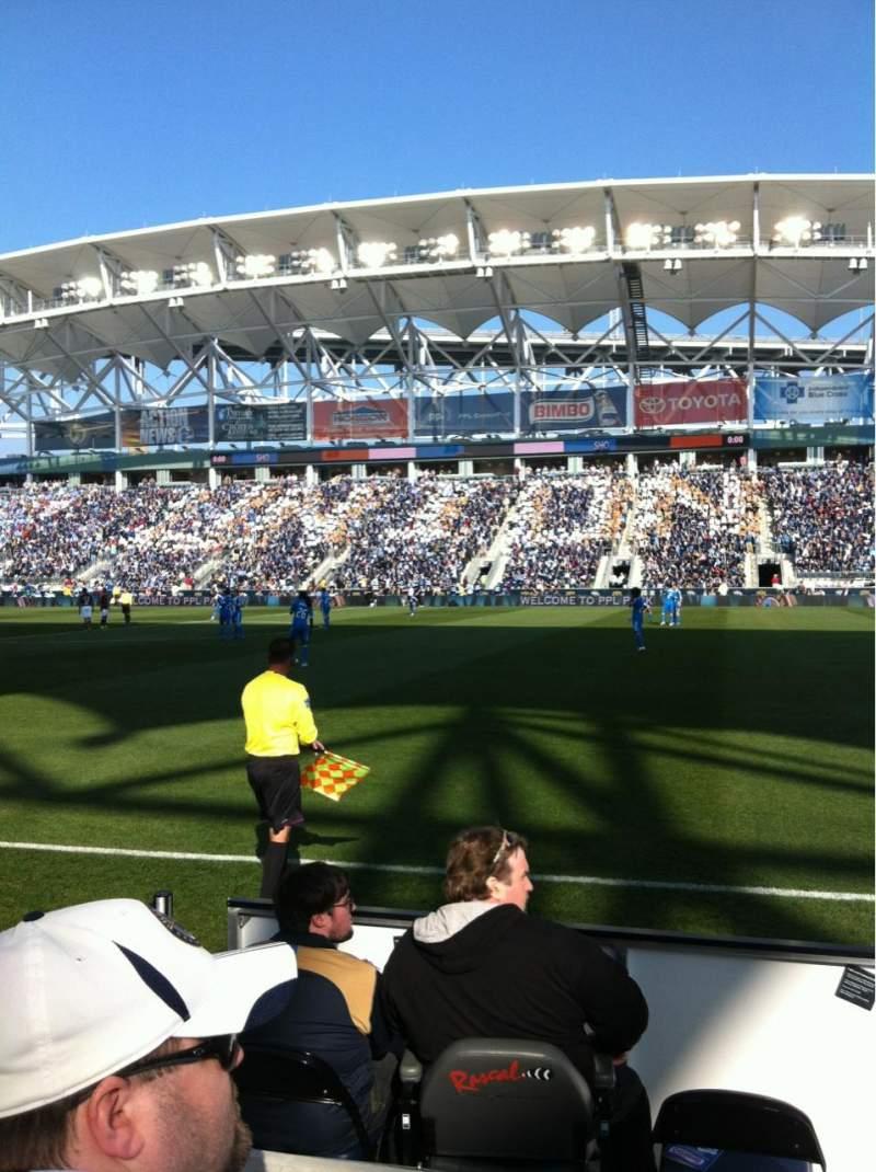 Vista sentada para Talen Energy Stadium Secção 105 Fila B Lugar 4