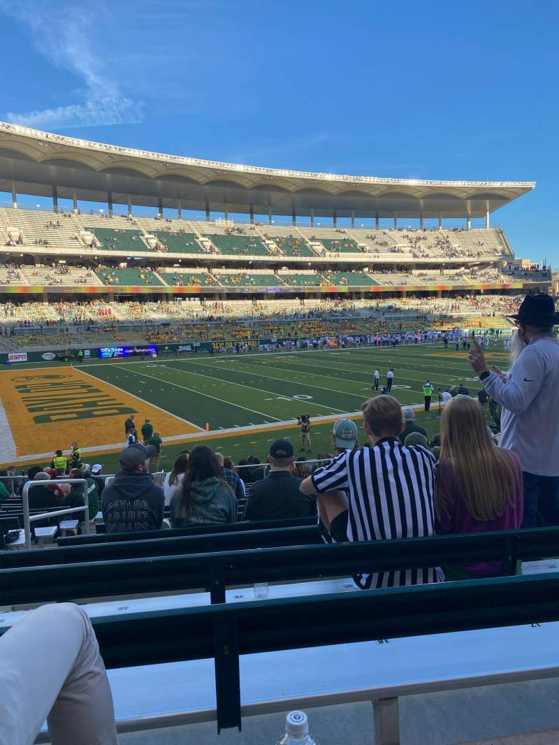 Vista sentada para McLane Stadium Secção 110 Fila 16 Lugar 19
