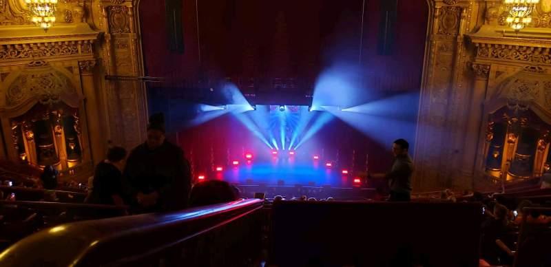 Vista sentada para Chicago Theatre Secção Balcony4 Fila Q Lugar 408