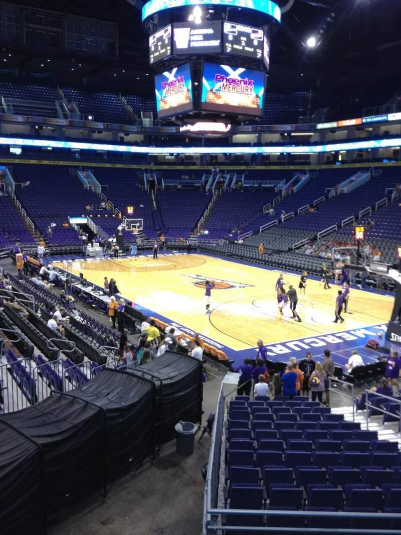 Vista sentada para PHX Arena Secção 122 Fila 18 Lugar 15