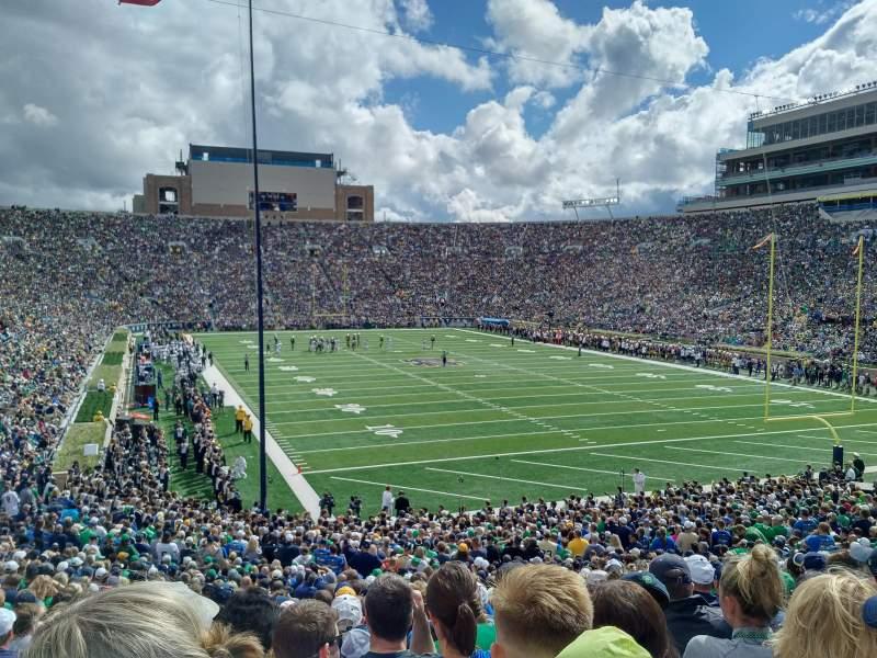 Vista sentada para Notre Dame Stadium Secção 3 Fila 40 Lugar 9