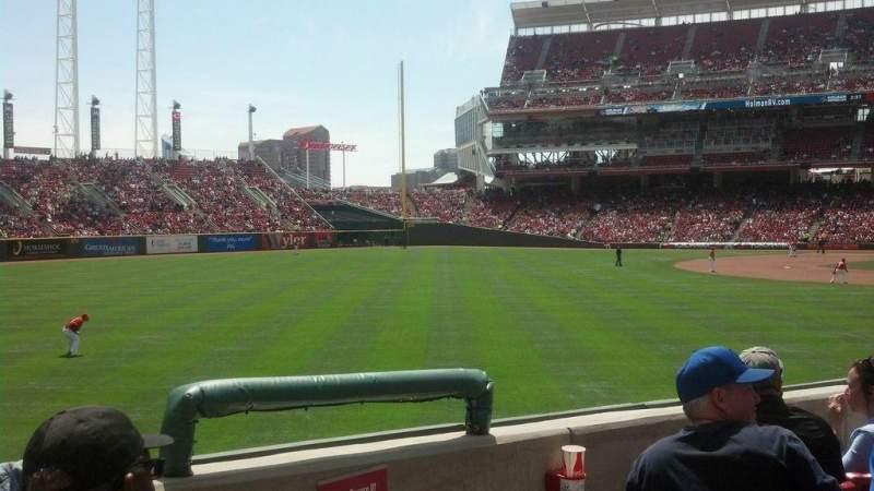 Vista sentada para Great American Ball Park Secção 108 Fila V Lugar 1