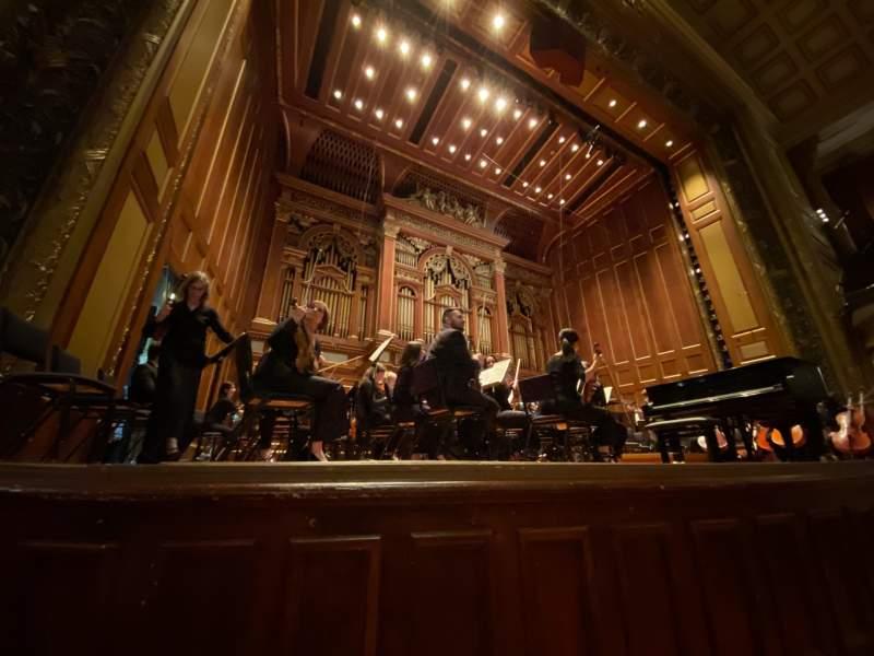Vista sentada para Jordan Hall at the New England Conservatory Secção Orchestra Left Fila A Lugar 11