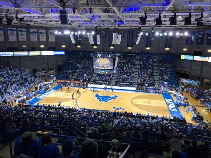 Vista sentada para Alumni Arena (University at Buffalo) Secção 305 Fila F Lugar 9