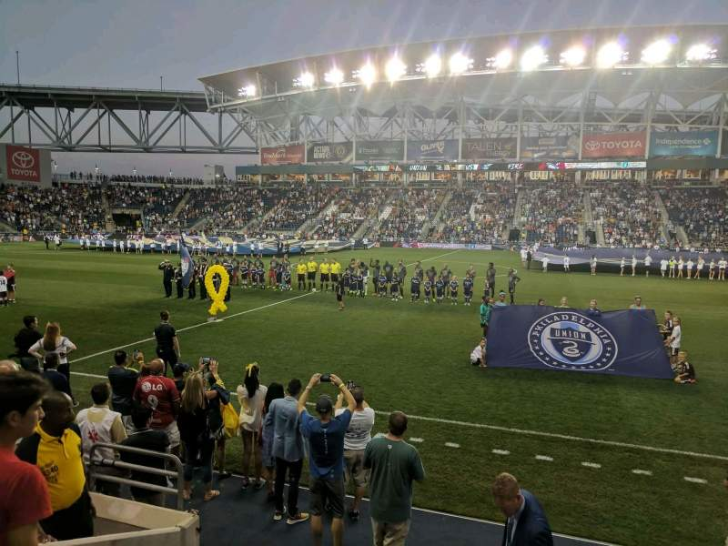 Vista sentada para Talen Energy Stadium Secção 106 Fila E Lugar 10