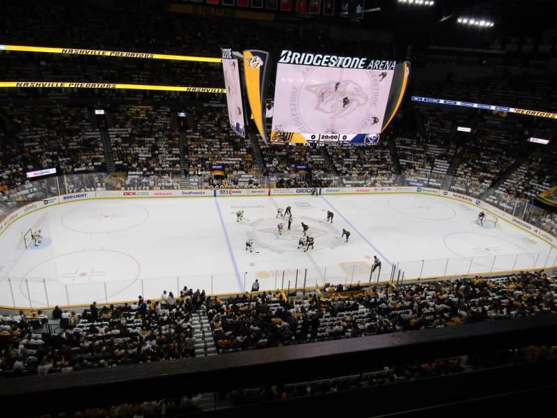 Vista sentada para Bridgestone Arena Secção 308 Fila A Lugar 1