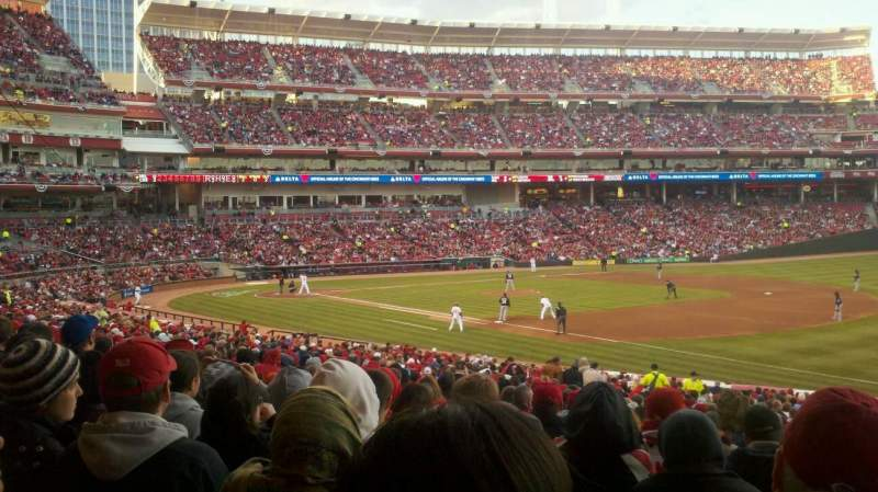 Vista sentada para Great American Ball Park Secção 134 Fila JJ Lugar 1