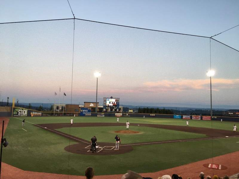 Vista sentada para Monongalia County Ballpark Secção 106 Fila K Lugar 4