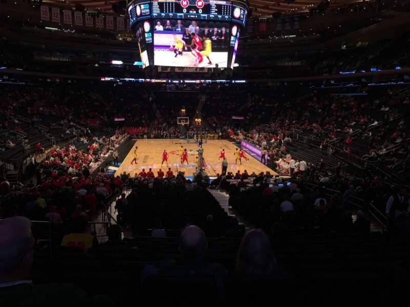 Vista sentada para Madison Square Garden Secção 102 Fila 16 Lugar 6