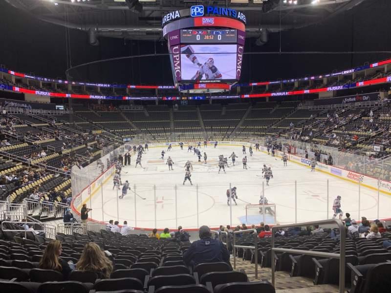 Vista sentada para PPG Paints Arena Secção 107 Fila T Lugar 2