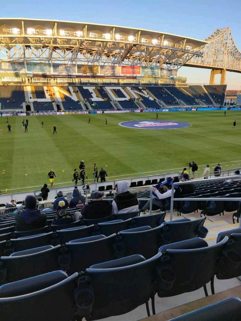 Vista sentada para Talen Energy Stadium Secção 110 Fila T Lugar 4