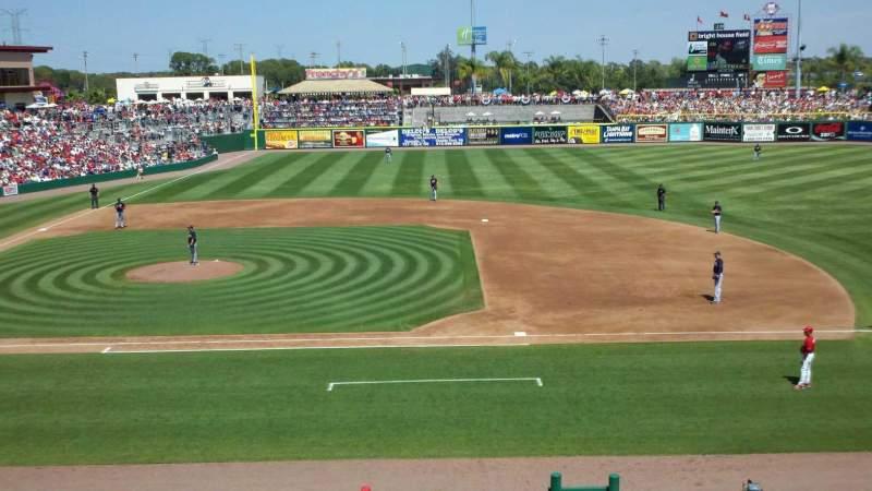 Vista sentada para BayCare Ballpark Secção 203 Fila 1 Lugar 10
