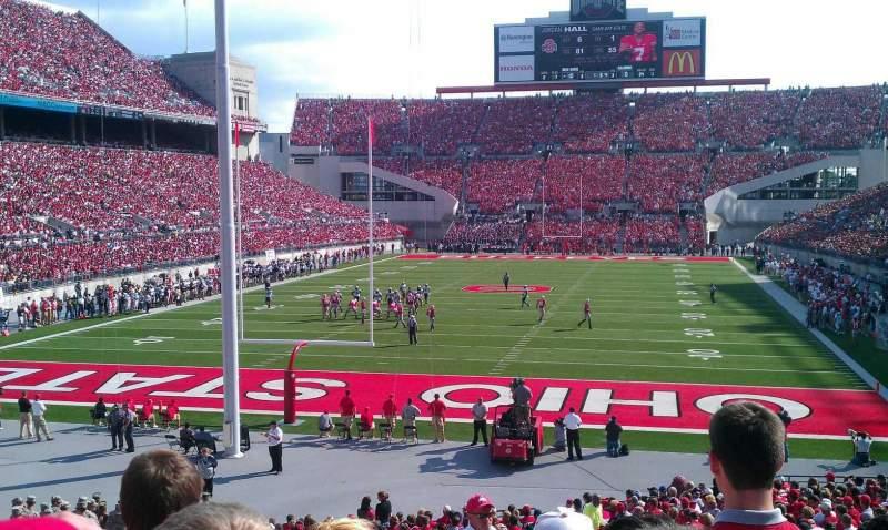 Vista sentada para Ohio Stadium Secção 3A Fila 10 Lugar 18