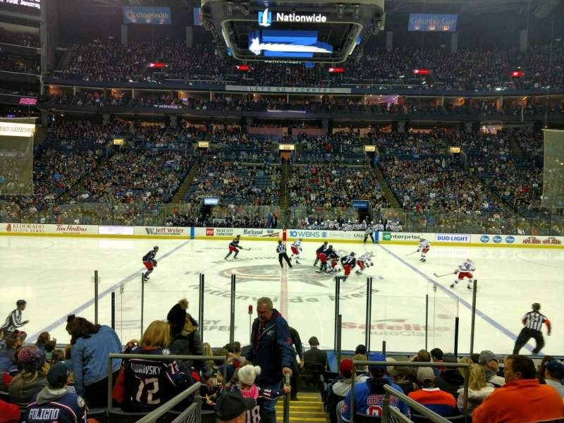 Vista sentada para Nationwide Arena Secção 114 Fila N Lugar 18