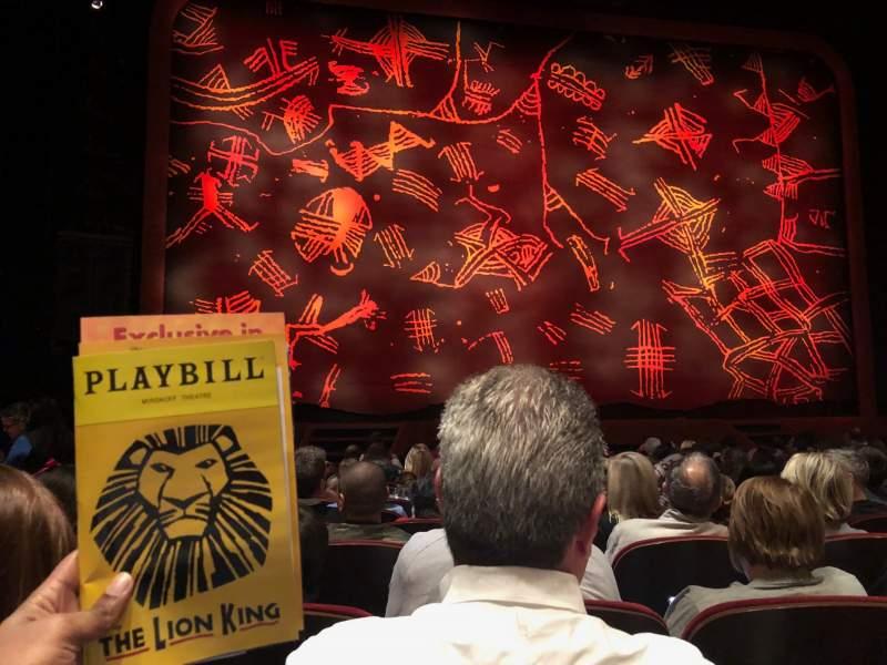 Vista sentada para Minskoff Theatre Secção Orchestra C Fila M Lugar 106