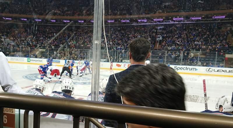 Vista sentada para Madison Square Garden Secção 108 Fila 1 Lugar 3