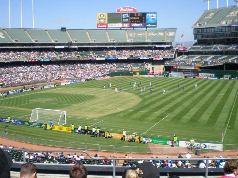 Vista sentada para Oakland Coliseum Secção 208 Fila 6