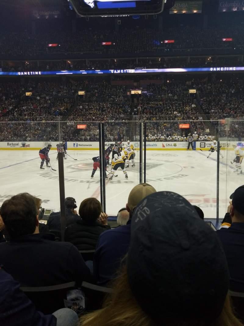 Vista sentada para Nationwide Arena Secção 114 Fila F Lugar 16